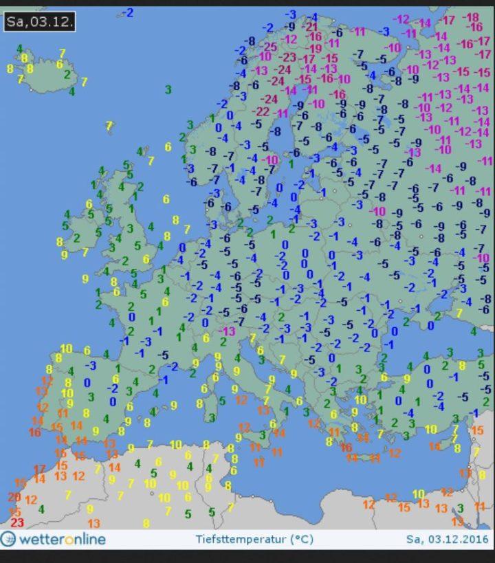 Die WO-Grafik zeigt die aktuellen Tiefsttemperaturen (Tmin) in 2m Höhe am 3.12.2016. Die Kälteproduktion über den durchgehenden Schneeflächen von Sibirien bis ins östliche Mitteleuropa (Polen) hat für Nachtemperaturen bis zu -24°C gesorgt. Quelle: