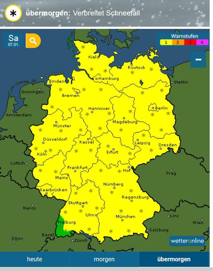 WO-Warnung vom 5.1.2017 für verbreitetem Scheefall in Deutschland am 7.1.2017. Quelle: wie vor