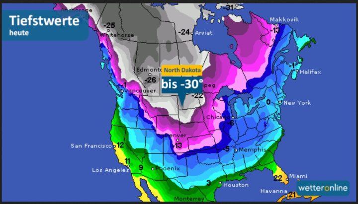 """9.12.2016: """"Derzeit sucht ein Wintereinbruch große Teile der USA heim: Die Temperaturen fallen in North Dakota bereits bis auf minus 30 Grad. Dazu gibt es teils starke Schneefälle, die mit Böen von bis zu 60 Kilometer pro Stunde einhergehen. Das Resultat ist ein gefährlicher Blizzard, in dem in kürzester Zeit Erfrierungen drohen. An den Großen Seen sind durch den sogenannten Lake-Effekt bis zu 70 Zentimeter Schnee in 24 Stunden möglich. Selbst im Norden von Texas herrscht Dauerfrost. Der Frost breitet sich heute fast bis an die amerikanische Golfküste aus. Vorgestern wurden dort noch über 20 Grad erreicht. ! Quelle: wie vor"""