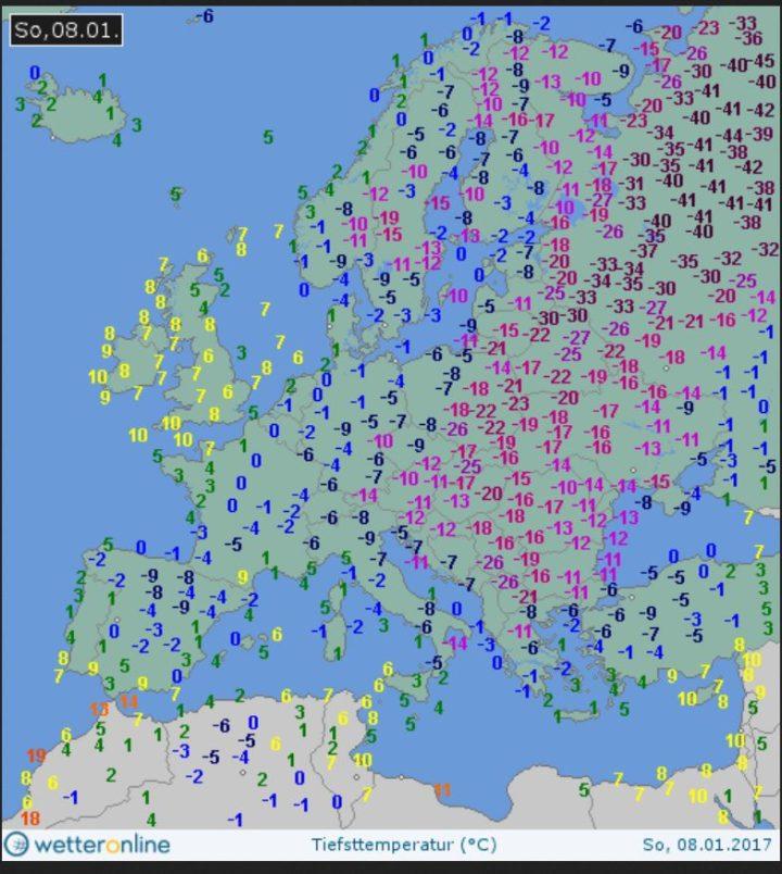 WO-Grafik der Tmin vom 8.1.2017: Große Teile Europas liegen unter eisigen Temperaturen, in Russland verbreitet um oder unter -40°C. Quelle: wie vor