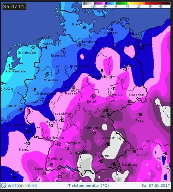 Tmin sibirisch in Süddeutschland am 7.1.2017: Quelle: