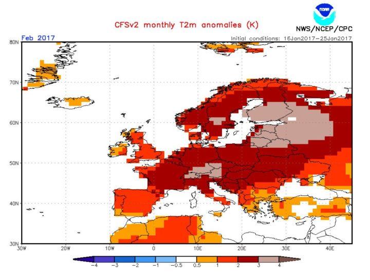Die CFSv2-Prognose Mitte Ende Januar 2017 für die Abweichungen der 2m-Temperaturen vom vieljährigen Klimamittel in Europa im Januar 2017. Große Teile Europas - auch Deutschland - werden mit positiven Abweichungen von 0,5 bis zu vier Grad Celsius gerechnet - ein sehr milder Februar 2017! Quelle:
