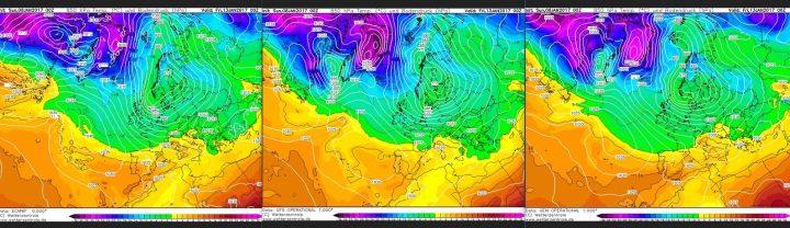 Vergleich der Modellprognosen von ECMWF, GFS und GEM für 850 hPa (rund 1500 m Höhe) vom 7.1.2017, 00.00 Uhr für den 13.1.2017: In seltener Einigkeit zeigen alle drei Modelle weiter den Atlantik/Grönlandblock und einen winterlichen Trog über Mitteuropa mit einem mächtigen Schneesturmtief über Skandinavien. Quelle: