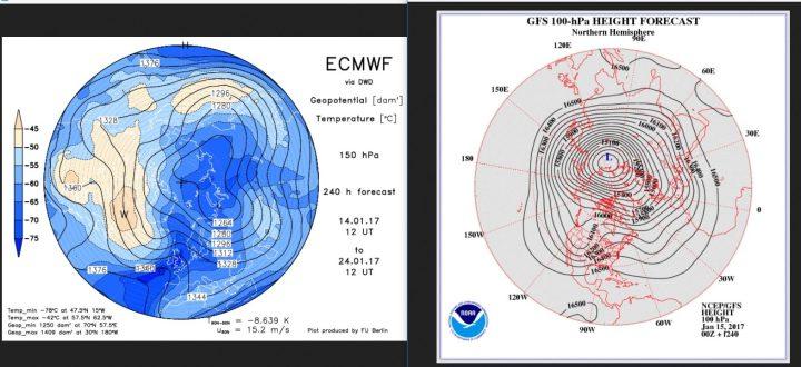 Vergleich der Stratosphärenprognosen ECMWF (150 hPa, rund 14 km Höhe) und von GFS (100 hPa, rund 16 km Höhe) vom 14./15.1.2017 für den 24./25.1.2017. Beide Prognosen rechnen in der unteren Stratosphäre einen kalten Trog über Mitteleuropa, ECMWD rechnet den Hocdruck über Westeuropa stärker, während bei GFS der Trog lkräftiger unf umfangreicher ist. Quellen: