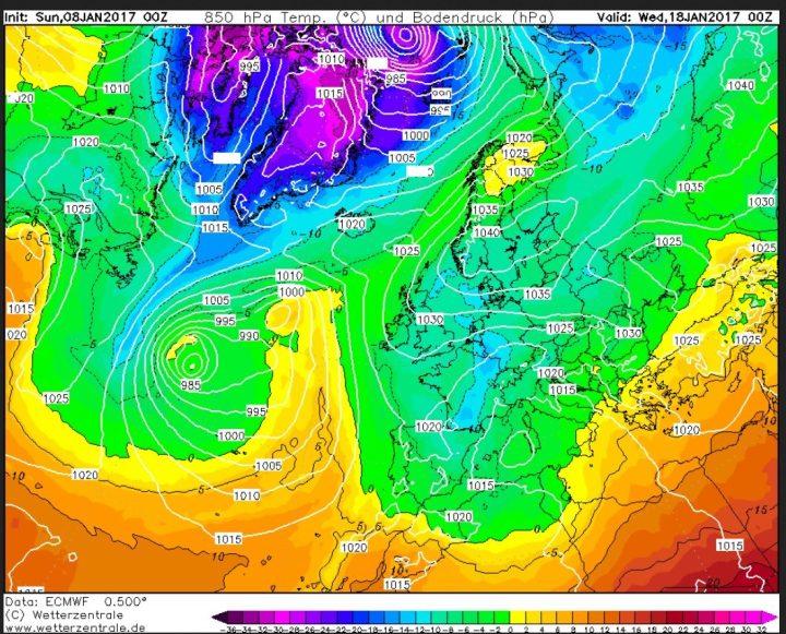 ECMWF-Prognose für 850 hPa (rund 1500 m Höhe) vom 8.1.2017, 00.00 Uhr für den 18.1.2017: Ein Skandinavienblock und ein umfangreiches Wintertief über dem südlichen Mitteleuropa und dem westlichen Mittelmeer. Quelle:
