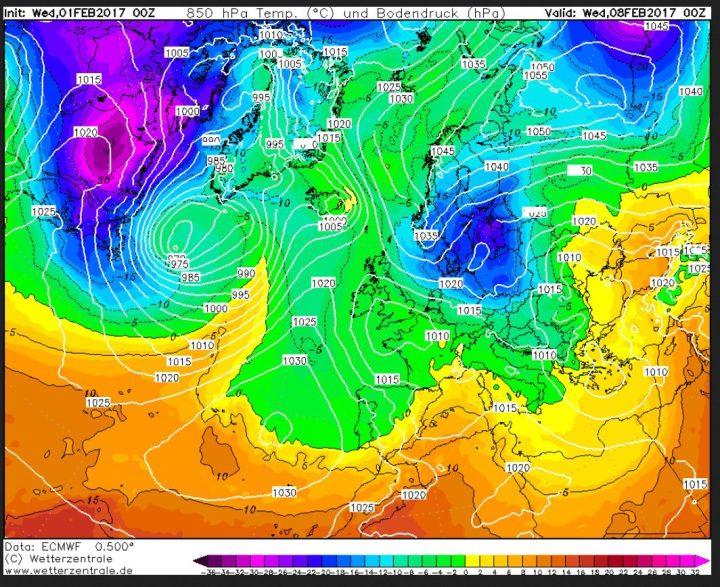 ECMWF-Prognose 850 hPa (rund 1500 m Höhe) vom 1. für den 8. Februar 2017 mit Kaltlufteinbruch von Nordosten. Ein CFSv2-milder Februar 2017 sieht anders aus... Quelle: