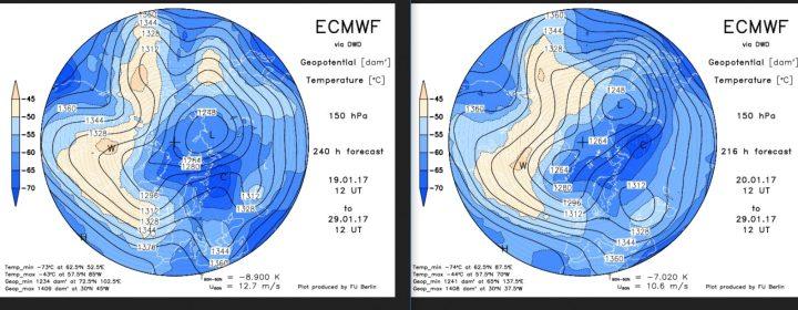 Vergleich der ECMWF-Strat-Prognosen für 150 hPa (rund 14 km Höhe, untere Stratosphäre) vom 20. und 21. Januar 2017 für den 29. Januar 2017. Der Trog über Mitteeuropa wird zunehmend stärker gerechnet, auch die Dipol-Situation des Polarwirbels ist intensiver.