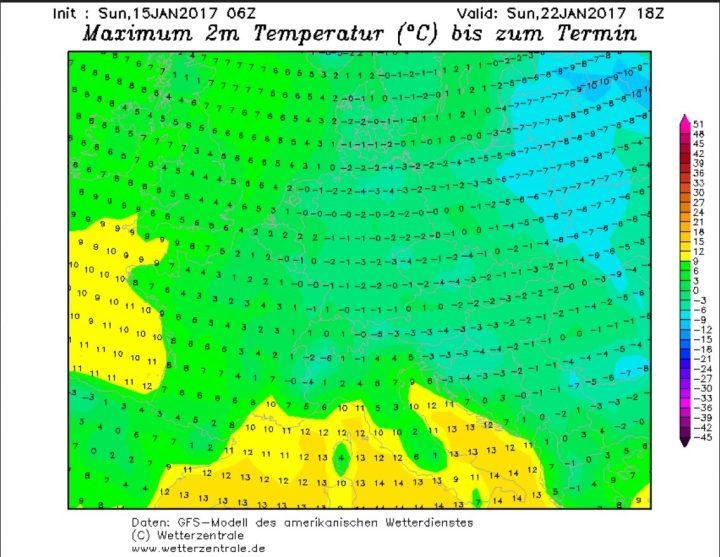 GFS06-Prognose vom 15.1.2017 für die Tmax am 22.1.2017: Große Teile Mittel- und Osteuropas weisen Tmax um oder unter O°C auf. Die Kältewelle mit Dauerfrost im eisigen Januar 2017 dauert an! Quelle: