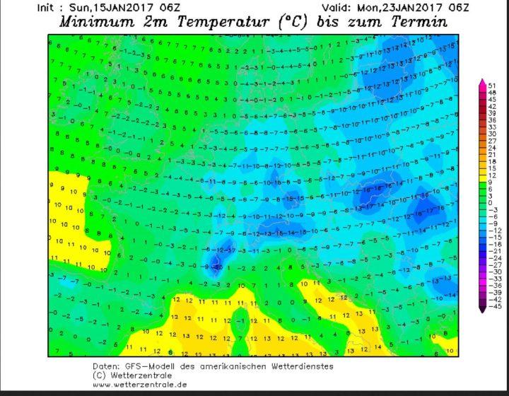 GFS06-Prognose vom 315.1.2017 für die Tmin am 23.1.2017: Große Teile Europas werden von andauernder Kälte mit Nacht-Temperaturen um -10°C überzogen. Quelle: