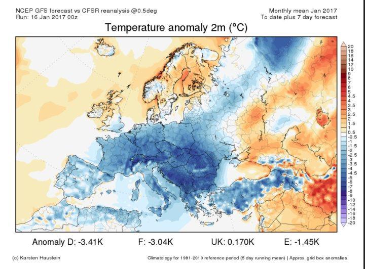 Die CFSR-Reanalyse der Temperaturabweichungen in Europa vom 1. bis zum 16. Januar 2017 und die Prognose der Abweichungen zum WMO-Klimamittel 1981-2010 bis zum 23.1.2017. Große Teile Europas sind von einer Kältewelle überzogen, die sich in den kommenden 7 Tagen von -1,9 K für Deutschland noch kräftig auf eisige -3,4 K Abweichung verstärken soll. Ein eisiger Januar 2017 in deutschland und Europa! Quelle: