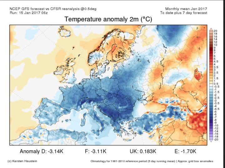 Die CFSR-Reanalyse der Temperaturabweichungen in Europa vom 1. bis zum 15. Januar 2017 und die Prognose der Abweichungen zum WMO-Klimamittel 1981-2010 bis zum 22.1.2017. Große Teile Europas sind von einer Kältewelle überzogen, die sich in den kommenden 7 Tagen von -1,8 K für Deutschland noch kräftig auf -3,1 K Abweichung verstärken soll. Quelle: