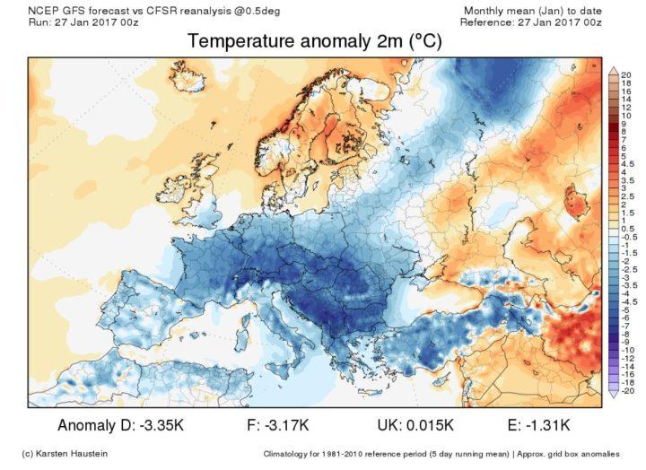 El nuevo análisis de las desviaciones de temperatura CFSR en Europa del 1º al 26 de enero de 2017. Una gran parte de Europa están cubiertos por una ola de frío que las desviaciones de los fondos de la OMM de 1981 a 2010 son en Alemania a -3.4 K. Fuente: