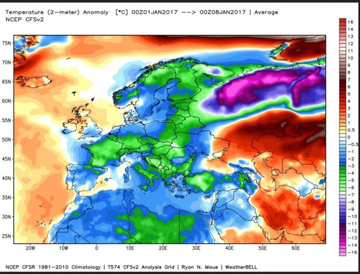 Die Analyse der Abweichungen der 2m-Temperaturen vom WMO-Klimamittel zeigt die ersten sieben Tage im Januar 2017 in Europa stark unterkühlt (blau/grün/lila). Dabei liegen die Temperaturen in Osteuropa bis zu -15 K unter den Normalwerten. Die kräftigen neagtiven Abweoichungen reichen bis Nordafrika. Quelle: