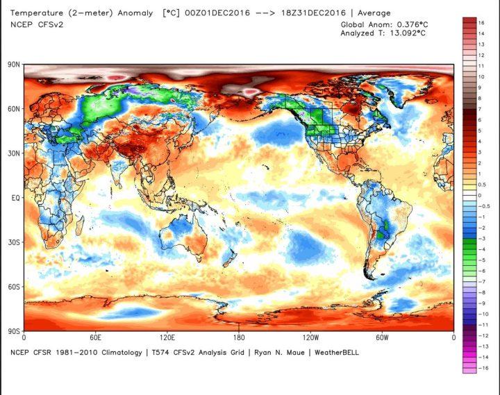 Die Analyse der globalen 2m-Temperaturabweichungen (TA) im Dezember 2016. Mit Abweichung von 0,38 K (Vormonat 0,43 K) zum international üblichen modernen WMO-Klimamittel 1981-2010 gehen die globalen Temperaturen etwas zurück und liegen nur noch auf Rang 5 (Image MouseOver Tool). Bei der Betrachtung der Grafik ist zu beachten, dass beide Pole in der rechteckigen Darstellung der Erdkugel im Verhältnis zu den äquatornahen Gebieten weit größer erscheinen, als sie tatsächlich sind…Quelle: http://models.weatherbell.com/temperature.php