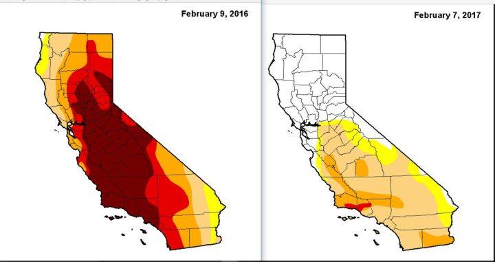 NOAA-Dürre-Analyse im Vergleich vom 9.2.2016 zum 7.2.2017: Die schwere Dürre (dunkelrote Farben) in Kalifornien vom Vorjahr ist im Februar 2017 fast völlig verschwunden, in Nordkalifornien gibt es keinerlei Trockenheit mehr. Quelle:
