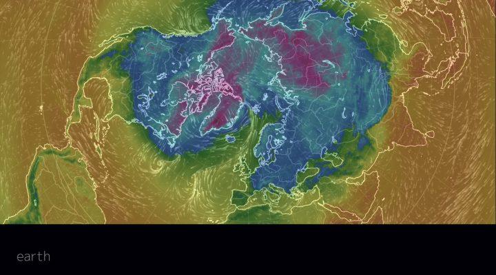 Die Strömungsgrafik der Nordhalbkugel vom 16.1.2017, 09 Uhr UTC, zeigt Winde und Temperaturen in 2m Höhe an. Große Teile der NH sind von Kältewellen vor allem in Nordamerika und in Europa betroffen. Die lila/blauen Faeben zeigen Frostluft an. Quelle: