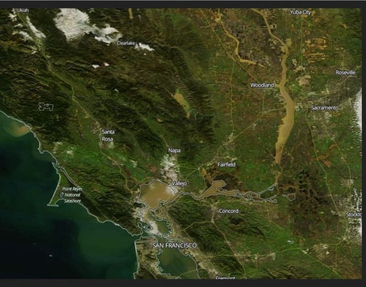 """NASA Terra MODIS zoomed image on 13 January 2017 covering San Francisco to Sacramento."" Quelle: wie vor"