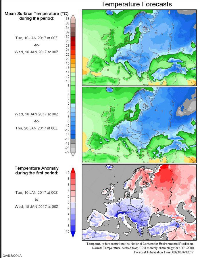 Prognose der Temperaturabweichungen zum (kühlen) Klimamittel 1901-2000 für Europa vom 10.1.2017 für den Zeitraum bis zum 26. Januar 2017. Die erste Hälfte des Januar 2017 Januar ist zunehmend unterkühlt, in großen Teilen Europas herrscht strenger Frost. Die Kälre setzt sich in der zweiten Januarhälfte fort. Quelle: