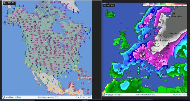 Die WO-Grafiken zeigen die ungewöhnlich eisigen Tiefsttemperaturen (Tmin) gleichzeítig in Nordamerika und in Europa am 7.1.2017. Quelle: