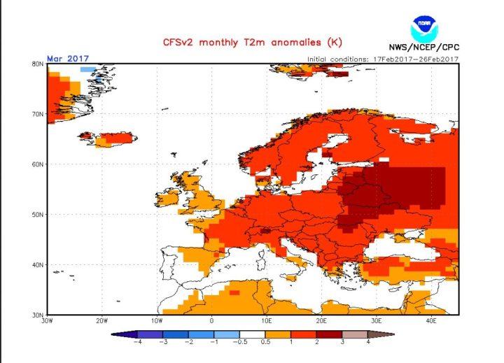 NOAA/CFSv2-Prognose vom 27.2.2017 für die 2m-Temperaturabweichungen in Europa im März 2017. Große Teile Europas sollen bis zu 3 K (°C) über den vieljährigen Mittelwerten liegen: Ein frühlingshaft milder März 2017 auch in Deutschland! Quelle: