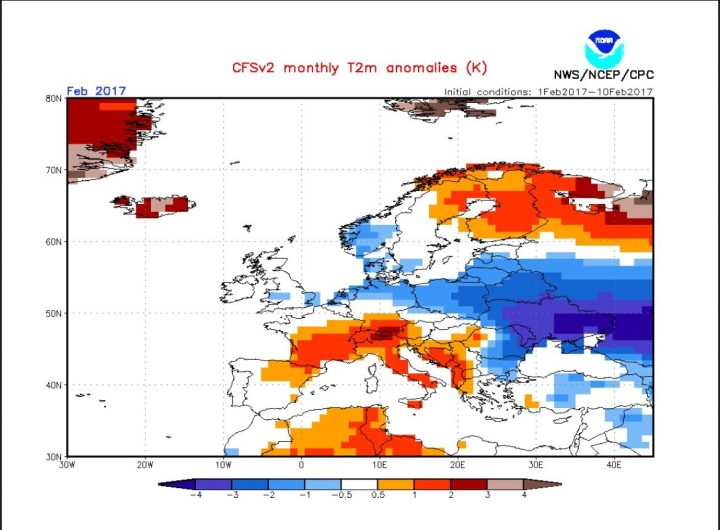 CFSv2-Prognose TA 2m Europa 2017 deutlich kälter