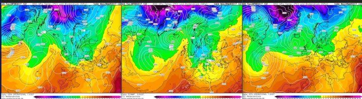 Vergleich der Modellprognosen von ECMWF, GEM und GFS für 850 hPa (rund 1500 m Höhe) vom 28.2.2017 für den 8.3.2017 mit der Möglichkeit für wenig frühlingshafte Verhältnisse an den Folgetagen. Nur GFS ziert sich noch, den Winter in Mitteleuropa abzubilden... Quelle:
