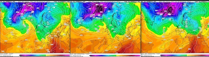 Vergleich der Modellprognosen von ECMWF, GFS und GEM für 850 hPa (rund 1500 m Höhe) vom 19.2.2017, 00.00 Uhr für den 25.2.2017 (Karnevalssamstag): In seltener Einigkeit zeigen alle drei Modelle weiter einen eher winterlichen Trog über Mitteuropa mit der Möglichkeit der Zufuhr milderer Luftmassen in den Folgetagen. Quelle: