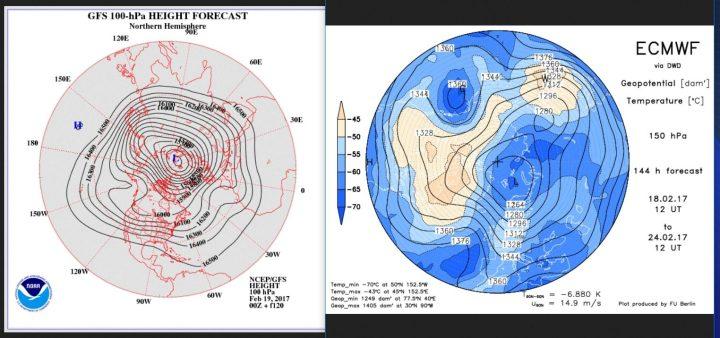 Vergleich der Stratosphärenprognosen von GFS (100 hPa, rund 16 km Höhe) und ECMWF (150 hPa, rund 14 km Höhe) vom 6/17.1.2017 für den 25./26.1.2017. Beide Prognosen rechnen in der unteren Stratosphäre einen kalten Trog über Mitteleuropa, in den ein und einen Höhenrücken über dem Nordatlantik. Die dichtgegrängten Höhenlinien (Isohypsen) zeigren eine starkes Gefälle (Gradienten) mit lebhafter West- bis Nordwestströmung. , Der Polarwirbel wirkt recht kräftig und geschlossen, nur bei ECMWF mit Dipolbildung, das mächtige Zentrum liegt östlich von Spitzbergen. Quellen: