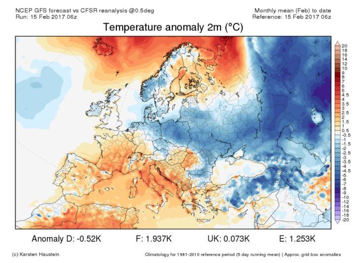 Reanalyse der Abweichungen der 2m-Temperaturen in Europa vom 1. bis 12. 2 2017. Entgegen der sehr milden CFSv2-Prognose ist der Februar 2017 in Europa und auch in Deutschland bisher insgesamt mit -0,5 K Abweichung zum WMO Klkimamittel 1981-2010 eher unterkühlt (blaue Farben), wobei es von Südwest nach Norost kältert wurde. Quelle: