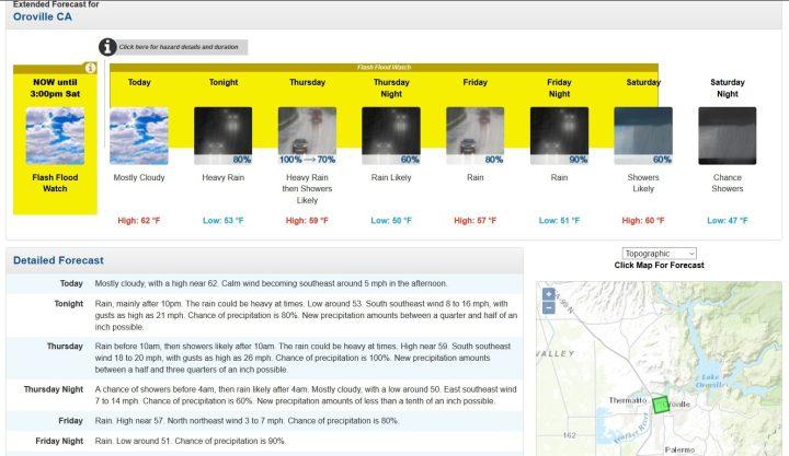 Screenshot-Ausschnitt der aktuellen Niederschlagsvorhersagen für Oroville/Kalifornien. Ab heute Nacht und morgen werden starke Regenfälle mit bis zu 1,25 inches (rund 320 mm) Niederschlag erwartet, in den kommenden Tagen soll es weitere Regenfälle oder Schauer geben. Quelle: