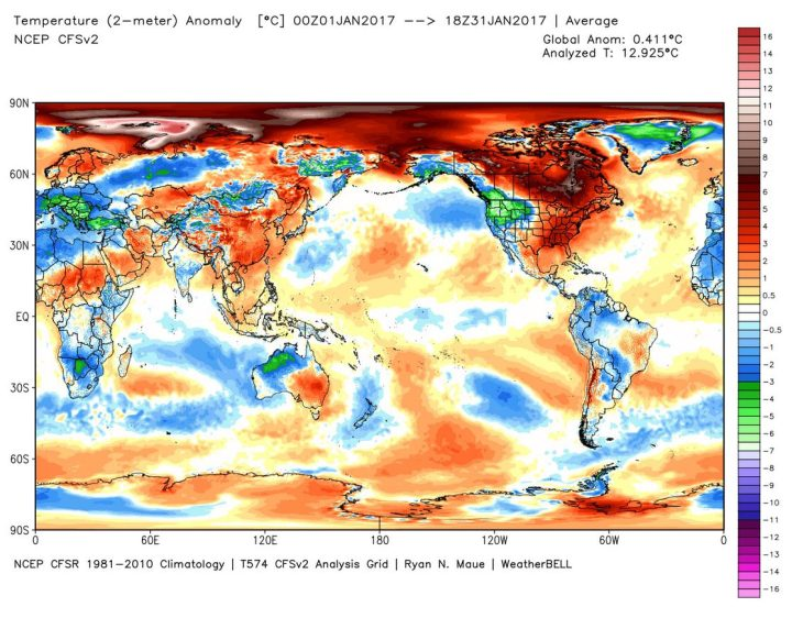 Die Analyse der globalen 2m-Temperaturabweichungen (TA) im Januar 2017. Mit Abweichung von 0,41 K (Vormonat 0,38 K) zum international üblichen modernen WMO-Klimamittel 1981-2010 gehen die globalen Temperaturen unwesentlich höher und liegen nur noch auf Rang 4 (Image MouseOver Tool). Bei der Betrachtung der Grafik ist zu beachten, dass beide Pole in der rechteckigen Darstellung der Erdkugel im Verhältnis zu den äquatornahen Gebieten weit größer erscheinen, als sie tatsächlich sind…Quelle: http://models.weatherbell.com/temperature.php