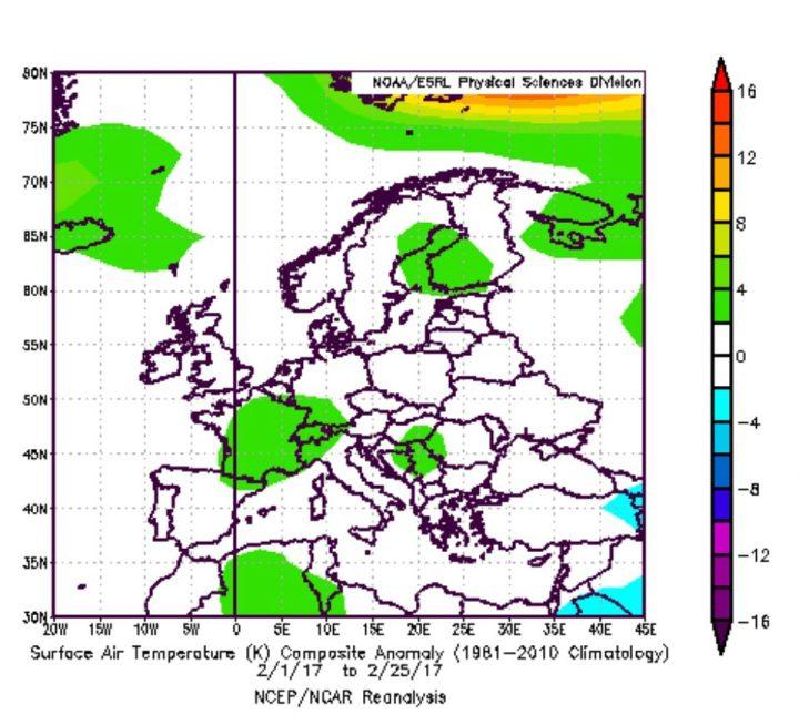 """Die NOAA-Reanalyse der 2m-Temperaturabweichungen in Europa vom voeljährigen Mittel. Im Gegernsatz zur """"warmen"""" CFSv2-Prognose liegen die Temperaturen im Februar 2017 im Durschnitt (weiße Farben). Quelle:"""