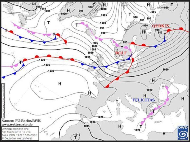 DWD-Prognose der Wetterlage in Europa vom 19.2. für den 20.2.2016. Sturmtief