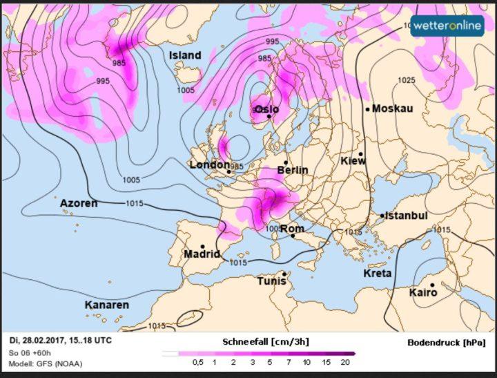 WO-Schneefallprognoe vom 26.2. für den 28.2.2017. In Europa und auch in Deutschland werden verbreitet Sschnefälle oder Graupelschauer erwartet. Quelle: