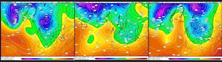 Vergleich der Modellprognosen von ECMWF, GGFS und GEM für 500 hPa (rund 5500 m Höhe) vom 3.32017 für den 13.3.2017 mit der Möglichkeit für wenig frühlingshafte Verhältnisse an den Folgetagen. Die Modelle sind sich ziemlich einig darüber, dass ein kalter Trog über Mitteleuropa für winterliche Witterung sorgt. Quelle: