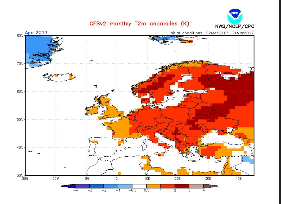 PostEaster Frost And Snow To Grip Central Europe As Temps To Fall - Us temperature map march