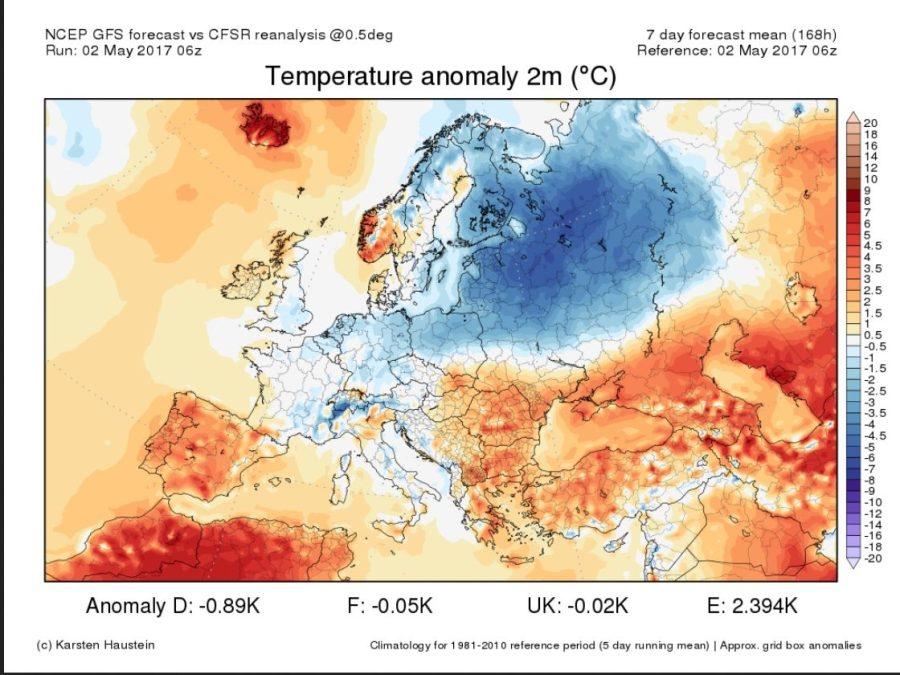 Prognose TA 2m Europa vom 2.5.2017. Erste Maiwoche untwrkühlt.