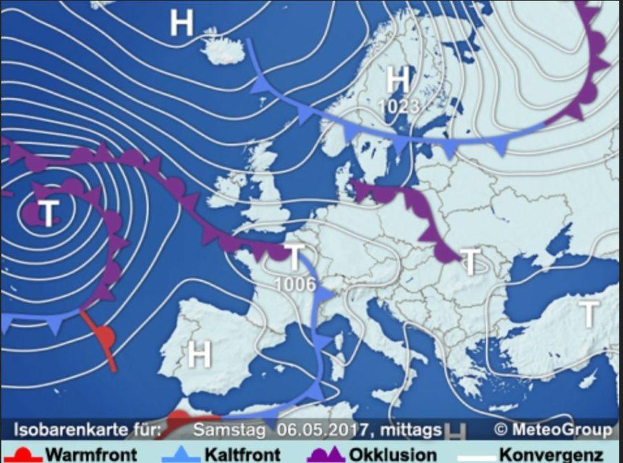 UWZ-Wetterlage Kaltfront Eisheilige