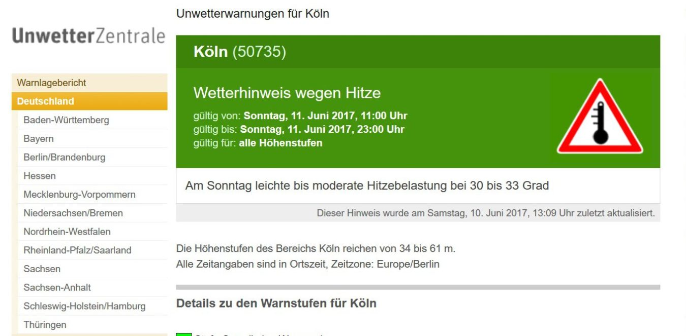 UWZ-Hitzewarnung Köln 11.6.2017