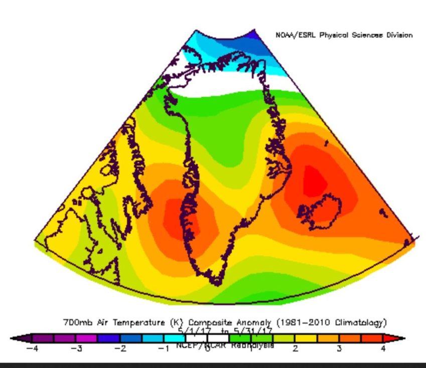NOAA-Analyse TA700hPa Grönland Mai 2017