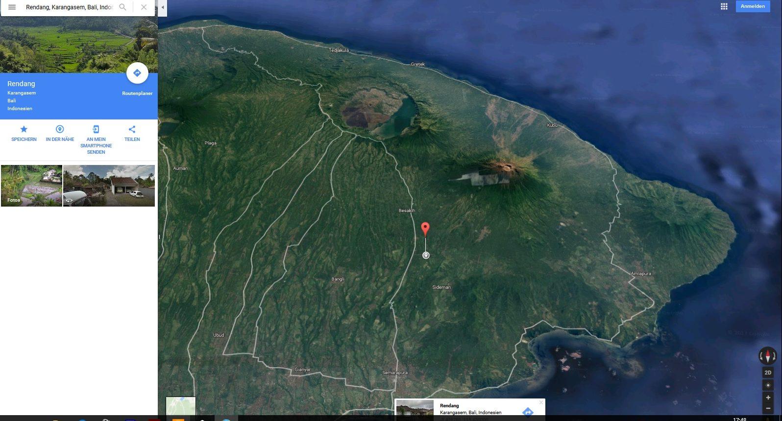 ... Zum Vergrößern Anklicken: Position Der Live Cam In Rendang/Bali, Ca. 13  Km Luftlinie SW Vom Vulkan U201eGunung Agungu201c.