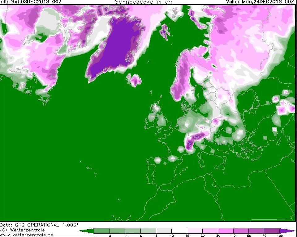 """Wetterticker """"Weiße Weihnachten"""" ? – GFS mit Schnee für alle ..."""